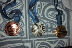 Guests were given the opportunity to see and hold the Gold Silver and Bronze medals