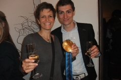 Guillaume Bastille and Michelle Vella Share Gold and Champagne