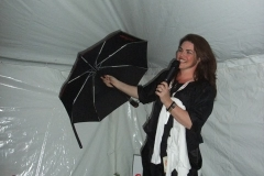 Jane Roos with the unique CAN Fund Umbrella which includes all CAN Fund recipients names