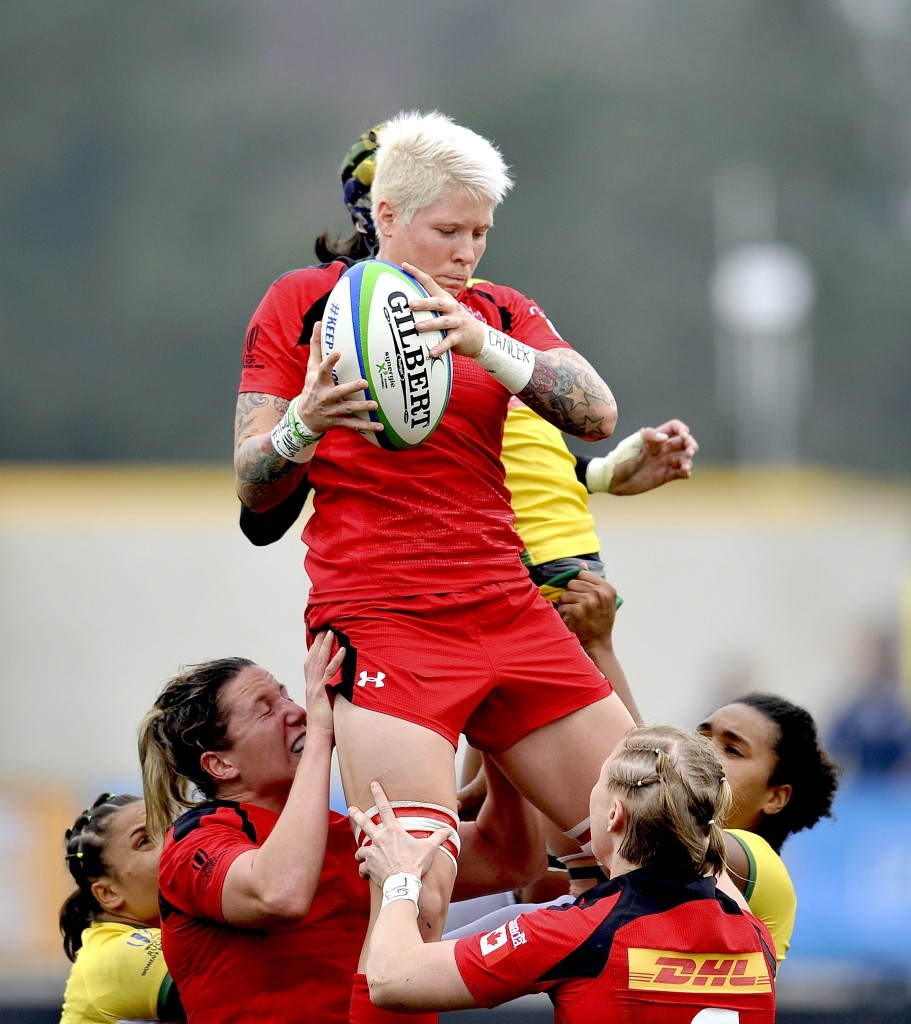 in action during the World Rugby Women's Sevens Series Atlanta, USA. Day one at Fifth-Third Bank Stadium, Kennesaw State University, Atlanta USA on March 14. 2015