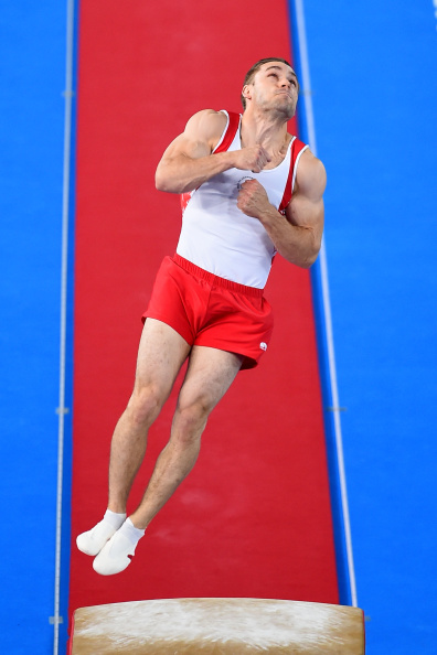 GLASGOW, SCOTLAND - AUGUST 01:  Gold medalist Scott Morgan of Canada competes during the Men's Vault Final at SSE Hydro during day nine of the Glasgow 2014 Commonwealth Games on August 1, 2014 in Glasgow, Scotland.  (Photo by Jeff J Mitchell/Getty Images)