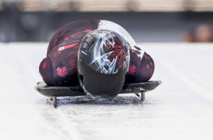 Elisabeth Vathje during race three of skeleton world cup trials at Canada Olympic Park in Calgary, Alberta on October 22, 2016.